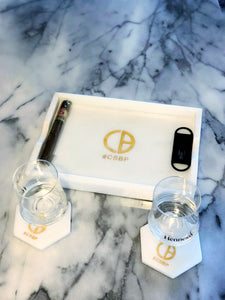 Marble tray & coaster set
