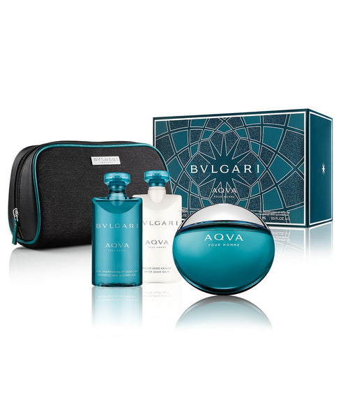Set Bvlgari Aqva Pour Homme 4 Pc 3.4 Edt Spray