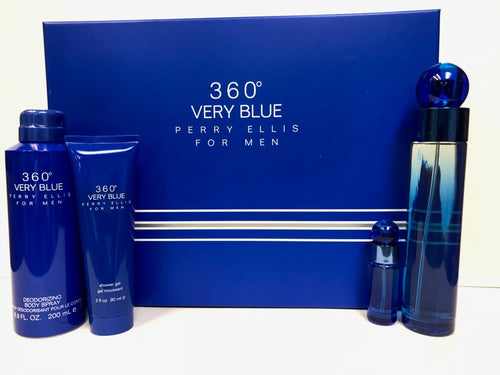 Set 360 Very Blue For Men 4pc Edt 3.4 oz Spray