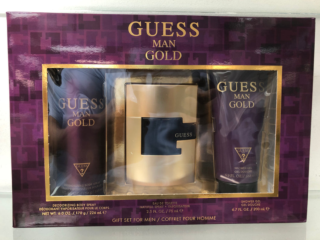 Set Guess Gold Man 3pc. Edt 2.5oz Spray