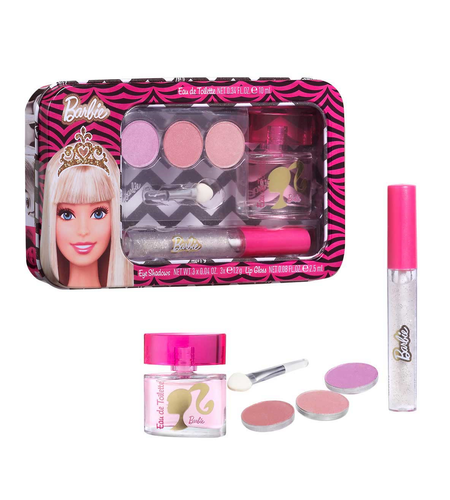 Kids Barbie Metallic Set 4pc. Edt 0.34oz + Eye Shadows + Lip Gloss
