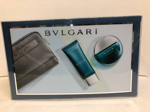Set Bvlgari Aqva 3pc. Edt 3.4oz Spray + 3.4oz After Shave Balm + Pouch