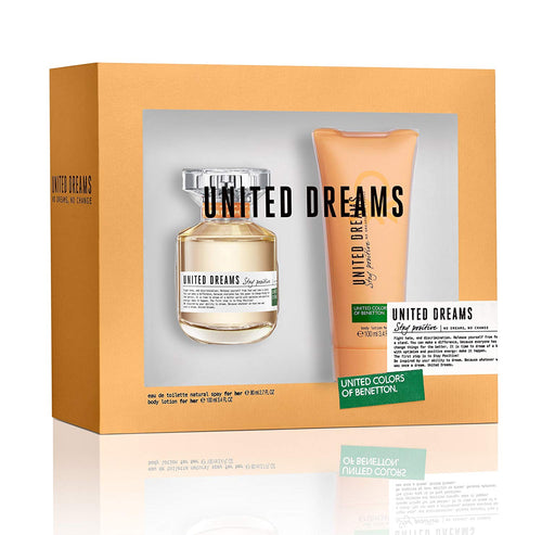 Set United Deams Stay Positive For Her 2pc. Edt 2.7oz Spray + 3.4oz Body Lotion