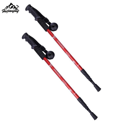 1Pair 3 Section Straight Grip Handle  telescopic walking Aluminium Alloy alpenstock antishock hiking climbing stick trekking po