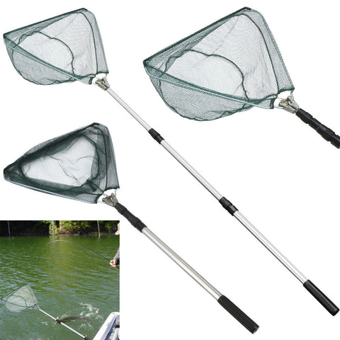 Drop Shipping 2017 Good Quality Safe Catch and Release Fish Landing Hand Net Telescoping Handle Foldable Hoop Fishnet  #S0