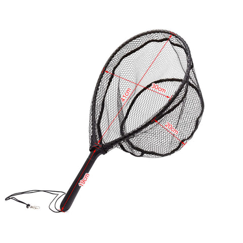 Fly Fishing Brail Landing Net Nylon Fishing Net with ABS Handle Aluminum Alloy Frame