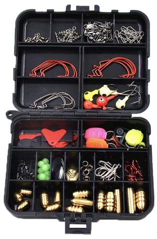 Rock 135 Accessories 128Pcs 135 Kit Hard Soft Bait Lure Fishhooks Tools Tackle Box Set for Saltwater & Freshwater 135