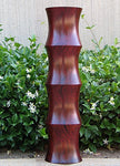 Green Floral Crafts | Tall Mango Wood Scalloped Floor Vase | 27 inch | Cherry - 27 Inch