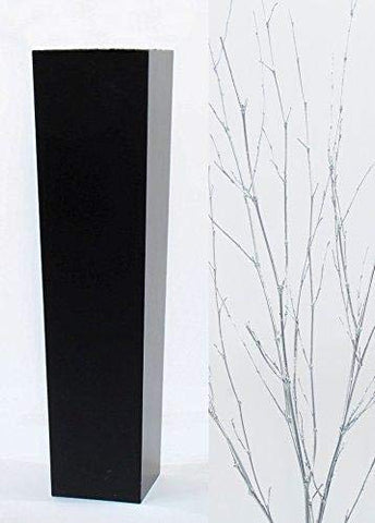 Green Floral Crafts Silver Branches in Large Tapered Black Floor Vase - 30 in.H x 7.3 in. Opening