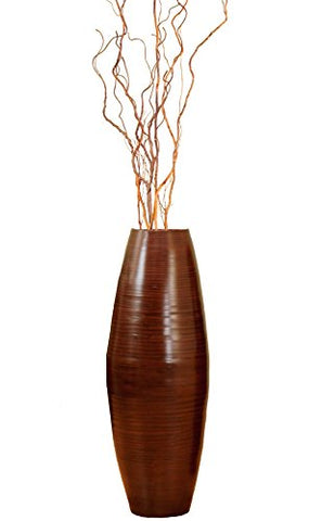 "24"" Brown Bamboo Cylinder Vase & Curly Willow"