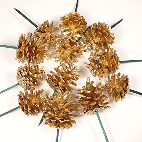 All Gold Small 2'' Tall Pine Cones on 3'' Stems, Pk of 16