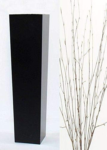 Large Tapered Black Floor Vase | 30 in.H x 7 in. Opening