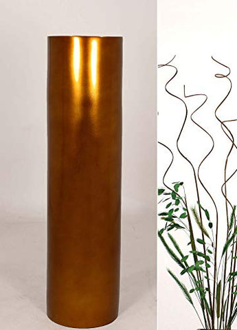 27'' Bamboo Cylinder Floor Vase - Lacquer Bronze