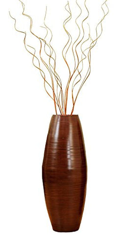 27'' Brown Bamboo Cylinder Floor Vase & Birch Branches