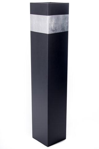 28'' Rectangle Tall Black Floor Vase | Silver Accent (Floral not Included)