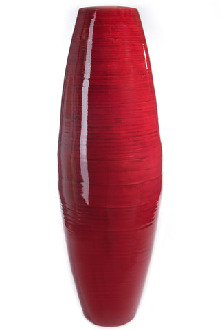 36 in. Tall Red Cylinder Floor Vase & Branches