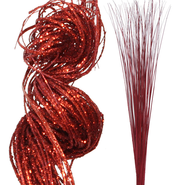 2 Ft Glitter Sparkle Red Curly Ting & Red Sparkle Wispies 1
