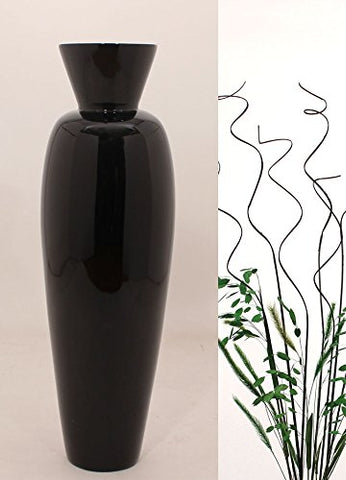 27'' Bamboo Asian Vase - Solid Black