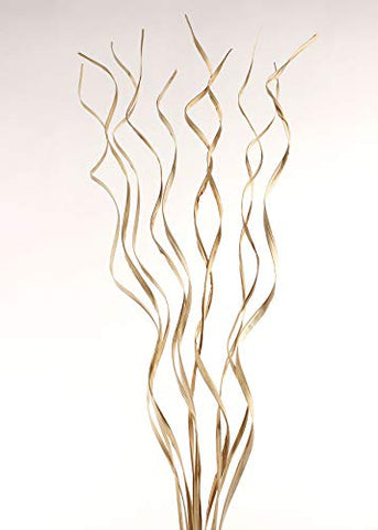 "Natural Palms Twist 40"" ft Tall Wavy Stems (Curly Branch Sticks) Caspia, Millet - Natural Ivory Cream"