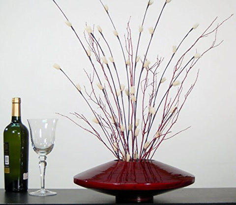 14 Inch Red Bamboo Zen Vase | Red Branches