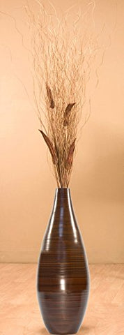 24 Inch Brown Teardrop Bamboo Floor Vase and Branches - Okra