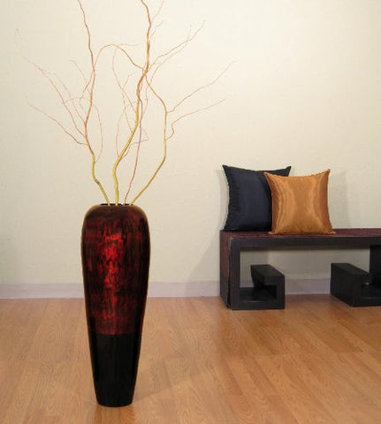 "27"" Bamboo Lacquer Tapered Swirl Vase 