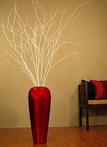 28 in. Red Vase with White Birch Branches