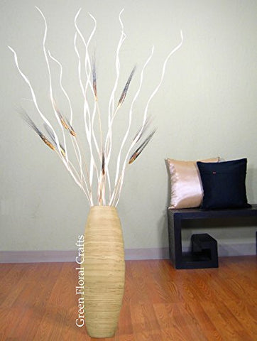 "Palm Twists & Wheat in 24"" Natural Bamboo OVAL Vase"