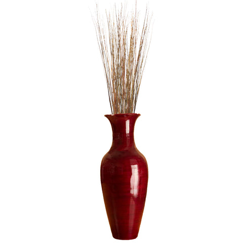 "47"" Classic Mahogany Red Bamboo Floor Vase & Asian Willow Branches"