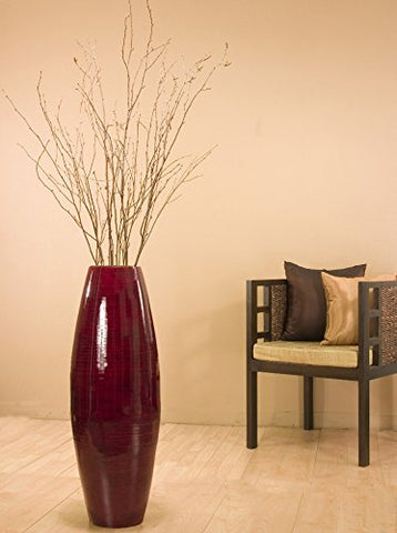 36 in. Tall Red Cylinder Floor Vase & Birch Branches