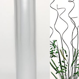 20 in. Cylinder Bamboo Floor Vase - Silver Tone