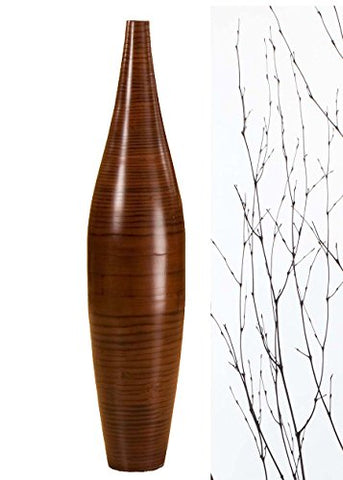 30 in. Ellipse Bamboo Tall Floor Vase | Cocoa Brown