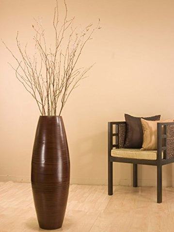 36 in. Bamboo Cylinder Floor Vase | Brown vase