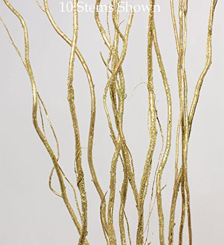 Gold Glitter | 4-5 Ft Tall Curly Willow | Pack of 10 Stems