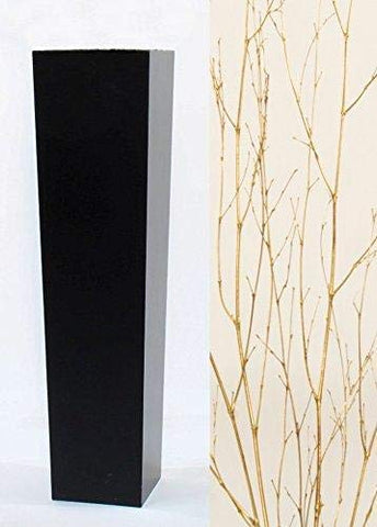 Gold Branches in Large Tapered Black Floor Vase - 30 in.H x 7.3 in. Opening