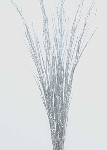 Green Floral Crafts Sparkle Silver Wild Grass- (Vase Not Included)