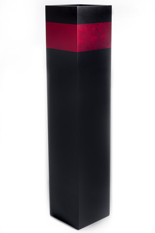 28'' Rectangle Tall Black Floor Vase | Red Accent (Floral not Included)