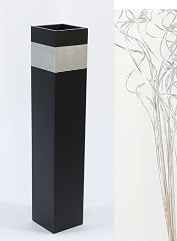 "28"" Black Tapered Floor Vase - Silver Accent"