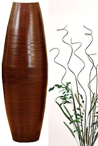 "24"" Brown Bamboo Cylinder Vase & Wave Stems"