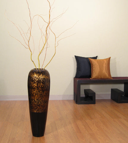 "36"" Bamboo Lacquer Tapered Vase - Dark Gold & Black Swirl"