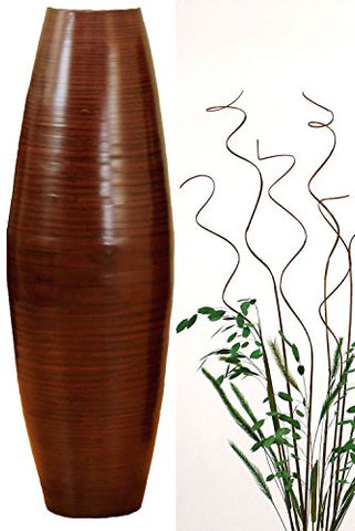 24'' Bamboo Cylinder Floor Vase - Brown