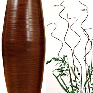 "27"" Bamboo Cylinder Floor Vase - Lacquer Bronze"