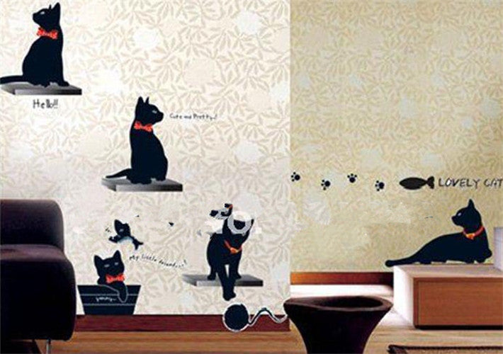 Wall Stickers  Black Cat Family