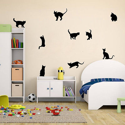 Black 9 Cats Wall Stickers
