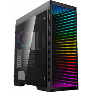 WM Gorgon Gaming PC RGB Mid Tower, w/ Glass Infinity Mirror
