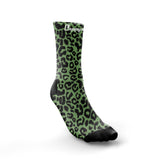 ''Get spotted'' cool green leopard crew running socks