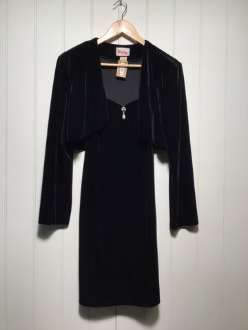 Velvet 90's Dress with Matching Jacket (Size S)