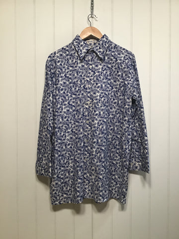 Lotus Print Men's Casual Long Sleeve (Size L)
