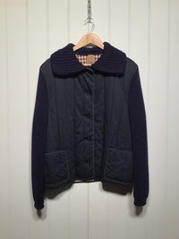 Aquascutum Quilted & Knitted Jacket with Knit Collar (Women's Size M)