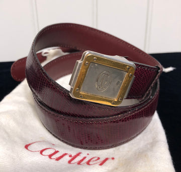 Cartier Leather Belt with Gold & Silver Hardware